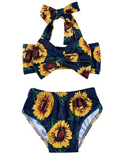 2T Baby Sunflower Bathing Suits Girls 18-24 Monts Cute Yellow Sun Flower Lace Bowknot Bikini Sets 2 Years Kids Tropical Hawaiian Vacation Summer Shorts Infant High Waisted Ruffles Swimwear, Navy Blue