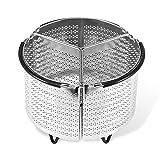 Vaporiera in acciaio inox con divisorio, pentola a pressione 6 Qt, set da 3 pezzi, lavabile in lavastoviglie, 20 cm