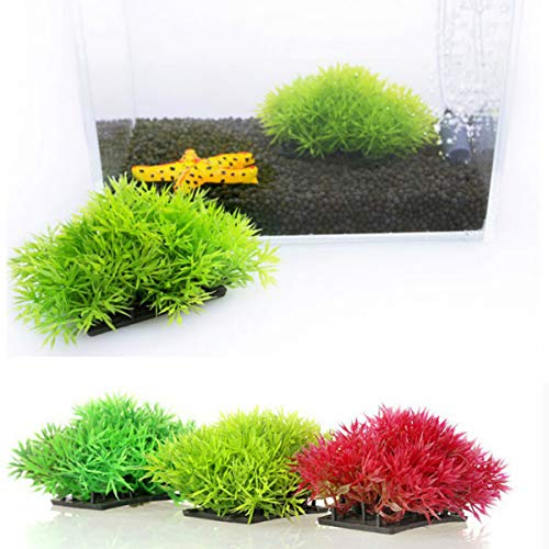 TeamTop 3個 水族館の植物 人工水草 水族館 装飾 人工水草 水景 水槽内装 に最適な シリカセラミックスは より深い水タンクで安定していま