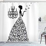 ABAKUHAUS Duschvorhang, Frau Schmetterling Bezogenen Hochzeitskleid im Palast Kronleuchter Majestätisch Schwarz-Weiß, Blickdicht aus Stoff mit 12 Ringen Waschbar Langhaltig Hochwertig, 175 X 200 cm