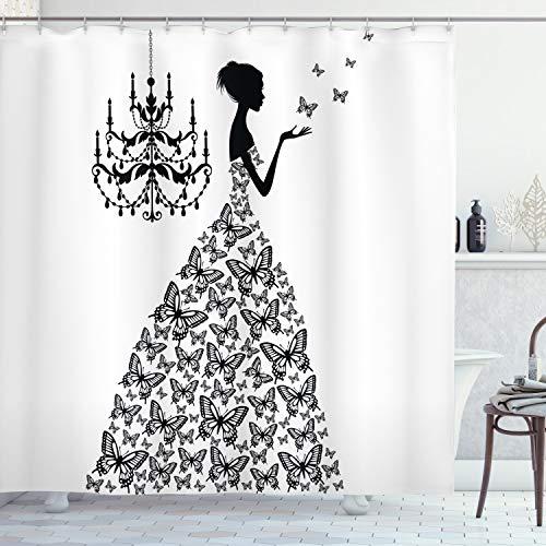 ABAKUHAUS Zasłona prysznicowa, damska sukienka ślubna z motywem motyla, w pałacu, żyrandol, majestatyczny czarno-biały, nieprzejrzysta, z materiału z 12 pierścieniami, nadaje się do prania, długa jakość, 175 x 200 cm