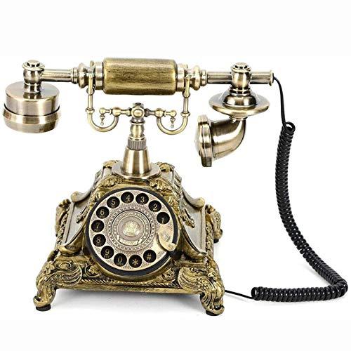 Cajolg Teléfono Giratorio Retro Botón de marcación giratoria Teléfono de Escritorio Estilo Antiguo Escritorio con Cable Teléfono Giratorio Retro Oficina con Cable Teléfono Fijo Retro