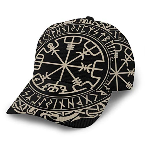 Unisex Fashion Low Profile Baseball Cap Dad Hat Adjustable Trucker Cap - Black Celtic Viking Design Magical Runic Compass Vegvisir in The Circle of Norse Runes and Dragons Tattoo Decorative