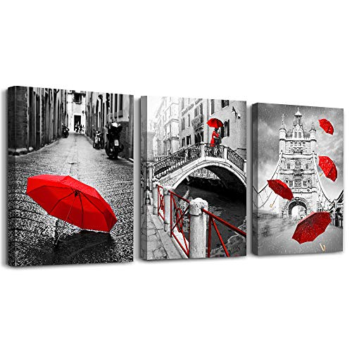 AHUAART Wall Art for Living Room Bathroom Decorations Bedroom Wall decor 3 Piece Framed Artwork modern Canvas Print Office Home Decoration Black and white landscape building red umbrella wall painting