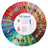 Hilos de Bordar 150 Madejas Colores Azar Hilo de Punto de Cruz con 5 Herramientas de Bricolaje Hacer Pulseras de Amistad