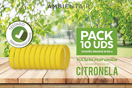 Ambientair Pulsera antimosquitos, 10 Piezas. 360 Horas de duración Cada una. Repelente Natural de citronela. Protección contra Insectos para Adultos y niños. (Amarillo, 68)