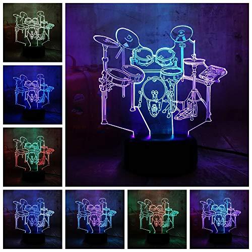 MRLZLT Novedad Instrumento Musical Jazz Tambor Set 3D Led Rgb Doble Mezcla Doble Color Luz De Noche Cumpleaños Presente Regalo De Navidad Fo Los Niños