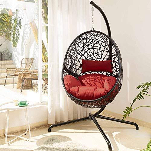 RADIATA Foldable Wicker Rattan Hanging Egg Chair with Stand, Swing Chair with Cushion and Pillow, Lounging Chair for Indoor Outdoor Bedroom Patio Garden (Black+Wine)