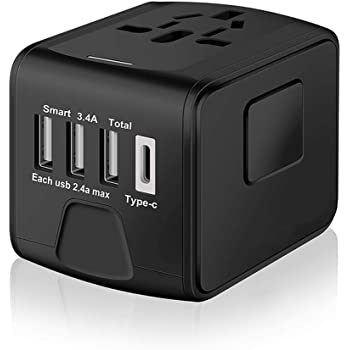 SAUNORCH Universal International Travel Power Adapter W/ High Speed 2.4A USB, 3.0A Type-C Wall Charger, European Adapter, Worldwide AC Outlet Plugs Adapters for Europe, UK, US, AU, Asia-Black