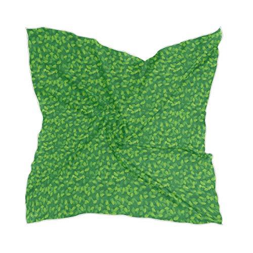 XiangHeFu Transparante groene bladeren hoofddeksel dunne zijden sjaal zakdoek chiffon vrouwen