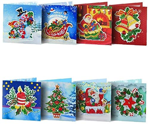 LYDIANZI 8pcs 5d Diy Special Drills Diamond Painting Greeting Card Christmas Cards Postcards Birthday Xmas Kit