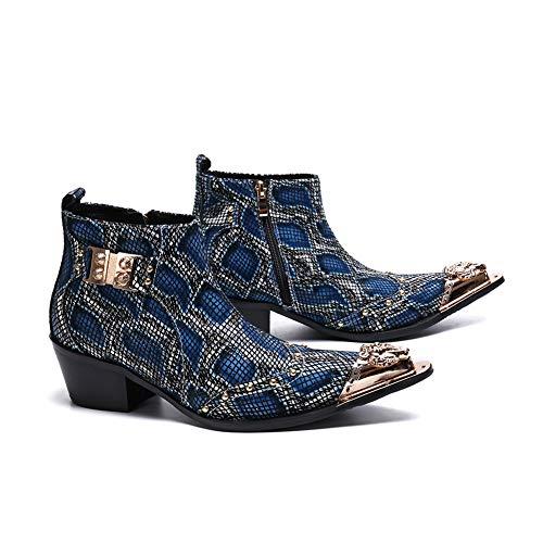 Wensa Spitzlederschuhe für Herren, Lässige Leder Cowboy Zipper Boots, Crocodile Textured Leather Herrenschuhe, für Freizeitstiefel,38