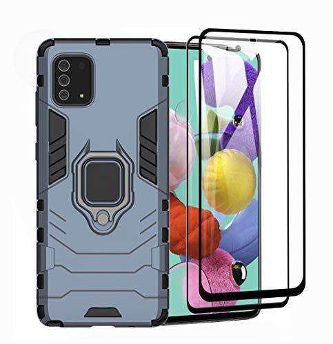 HAOYE Cover per Samsung Galaxy Note 10 Lite + 2 Vetro Temperato, Armor Custodia con 360 Gradi Girevole Anello e Supporto Magnetico Auto, Silicone TPU e PC Doppio Strato Protettiva Bumper. Blu