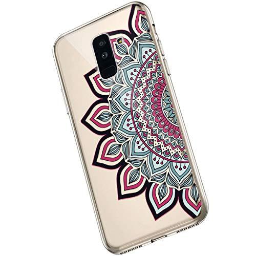 Saceebe Compatible avec Samsung Galaxy A6 Plus 2018 Coque Fleur Mandala Clair Design Motif Silicone Transparent TPU Souple Housse de Protection Ultra Mince Slim Léger Antichoc Étui,Fleur Rouge