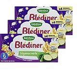 Blédina - Blédîner - 12 briques - Céréales Lactées et aux Légumes Verts - Pour le Diner de bébé dès 6 mois - Lot de 3x4