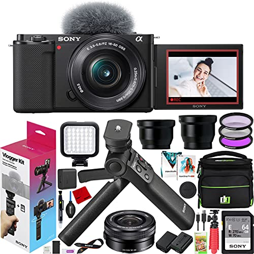 Sony ZV-E10 Mirrorless Camera Vlogger Kit with 16-50mm F3.5-5.6 Lens ILCZV-E10L/B Black Bundle with ACCVC1 Including GP-VPT2BT Grip + Filters + Wide & Telephoto Lenses + Deco Gear Case & Accessories