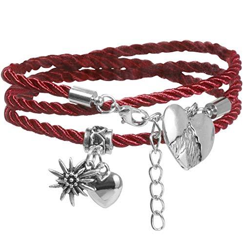 dressforfun 900581 Damen Armband Alpenherz, Herz, Edelweiß, in Länge verstellbar, für Oktoberfest & Trachten Party - Diverse Farben - (Rot | Nr. 302951)