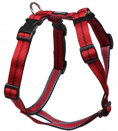 Feltmann Mopsgeschirr Hundegeschirr Soft Nylon, Rot mit Streifen, 7-13 kg, 20mm