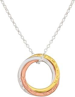 Colgante tres anillos Ruso tricolor entrelazados de plata esterlina chapados en oro.
