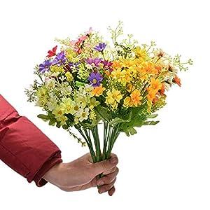 ARTIFICIAL FLOWER Faux Silk Daisy Wildflowers Greenery Shrubs Plants Plastic Bushes Indoor Outside Garden Planter Decor Office Wedding Garden Decor 6Pcs