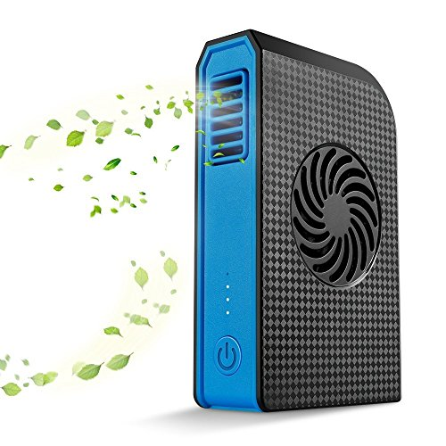KTDT Small Personal Fan with 6000mAh Power Bank Handheld USB Desk Fan with Portable Charger Best Using in Travel School Office Kitchen Outdoor Sport Camping Black+Blue