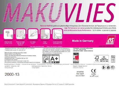A.S. Création Malervlies Makulaturvlies Vliesfaser Renoviervlies, überstreichbar, rissüberbrückend, Großrolle 25,00 m Länge x 1,00 m Breite, 120 g/m², weiß - 4