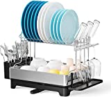 Dish Drying Rack, GSlife Large Stainless Steel 2 Tier Dish Rack with Removable Drainboard Swivel Spout Utensil Holder Dish Drainer Kitchen Organizer for Countertop
