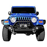 LEDKINGDOMUS Rock Crawler Front Bumper Compatible with 87-06 Jeep Wrangler YJ and TJ with Winch Plate, LED Lights Heavy Duty (Textured Black)