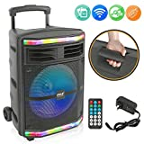 Pyle 10 Inch System-600W Bluetooth Speaker Portable PA System w/Rechargeable Battery 1/4' Microphone in, Party Lights, MP3/USB SD Card Reader, Rolling Wheels PPHP1044B