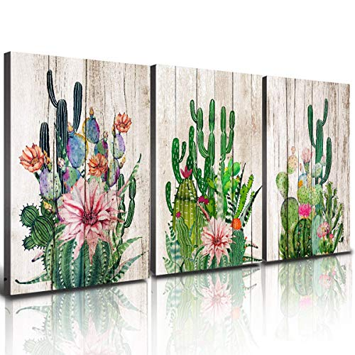 "Cactus Wall Art Bathroom Decor Succulent Plant Canvas Prints for Bedroom Home Decoration 12 x 16"" Boho Watercolor Flower Pictures Retro Wood Background Painting Kitchen Decorations Theme Set 3 Panels"