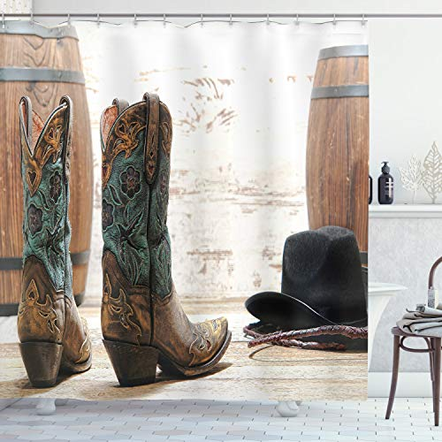 """Ambesonne Western Shower Curtain, American Rodeo Theme Cowgirl Design Leather Boots Hat Rustic Picture, Cloth Fabric Bathroom Decor Set with Hooks, 70"""" Long, Black Brown"""