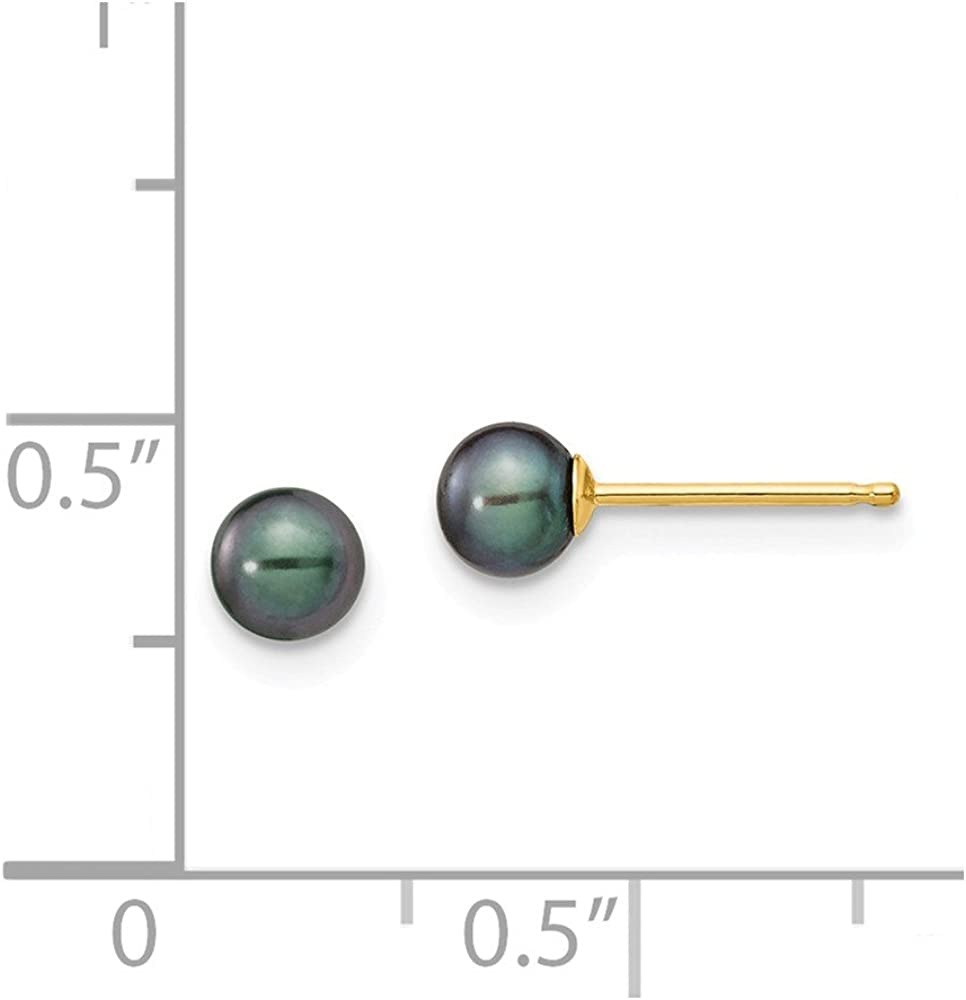 Solid 14k Yellow Gold 4-5mm Black Round FW Cultured Pearl Stud Earrings