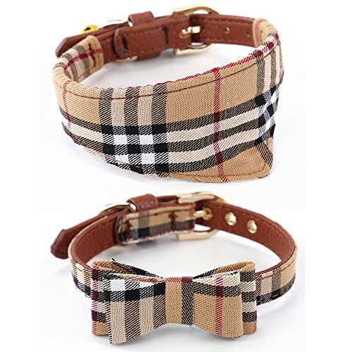 Dog Cat Collars Leather for Small Pet Adjustable Bow-tie and Scarf Puppy Collars with Bell Cute Plaid Bandana Dog Collar(2 Pack)