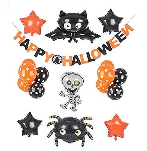 Gustawarm Lindas Decoraciones de Halloween Decoración Globos de Papel de Aluminio Inflable Banners con arañas de murciélago Juego de Fantasmas para la Fiesta de Halloween de Miedo y diversión