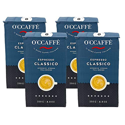 O'CCAFFÈ – Espresso Bar | 4 x 250 gr gemahlene Kaffeebohnen | starker gemahlener Kaffee aus italienischem Familienbetrieb | Perfekt für Cappuccino & Latte