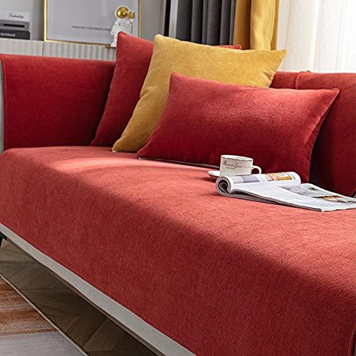 Fsogasilttlv Copridivano Fodera per Cuscino Rosso 110 * 110 cm, Copridivano per Soggiorno, Copridivano Antiscivolo Cuscino per mobili Copridivano angolare Asciugamano