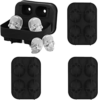 VinBee 4 PACK 3D Skull Silicone Jello Ice Mold, 16 Giant Silicone Mold Skulls for Halloween and Christmas Party, Great for Whiskey and Cocktails, Juice Beverages