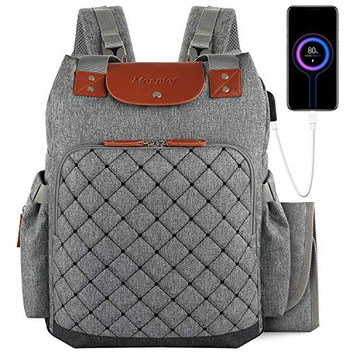 Diaper Bag Backpack with Changing Pad, Large Multifunction Baby Bags for Mom Dad, Waterproof Dual-use Single or Double Shoulders with USB Port, Stroller Straps, Insulated Pockets for Boy Girl (Grey)