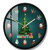 Asffdhley Reloj De Pared Decorativo Reloj De Pared Decorativo Silencioso Cuarzo Sin Tictac Árboles De Navidad Reloj De Pared A?o Nuevo Decoración Interiorpara