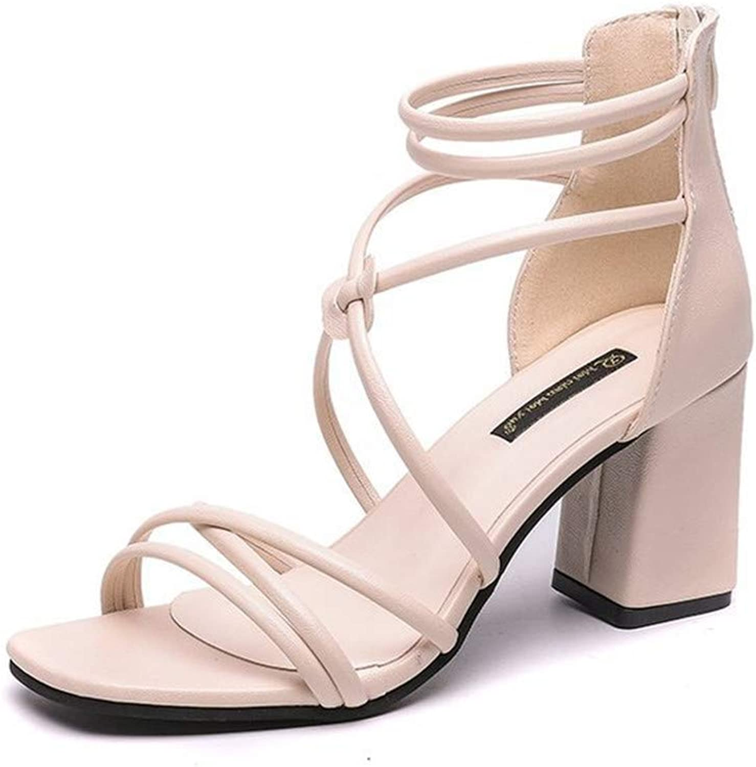 Medium-Heeled Sandals Roman and Mediterranean Style Sexy Open-Toed Thick-Heeled Women's shoes