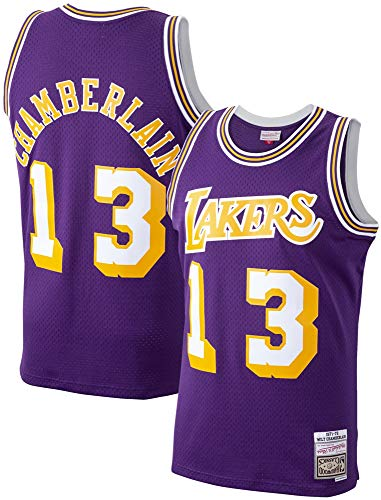 Wilt Chamberlain Los Angeles Lakers 1971-72 Swingman Purple Replica Jersey (Medium)