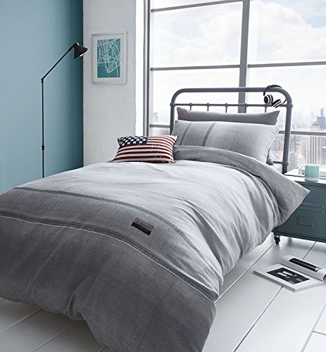 Catherine Lansfield Denim Easy Care Single Duvet Set Grey