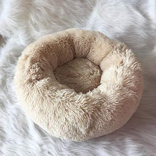 CHE Dog Bed Plush Round Donut Camas para Mascotas Kennel Cusion Puppy Mats Lounger House Sofá para Perros medianos Grandes Desmontable, Caqui, 50cm Funda extraíble