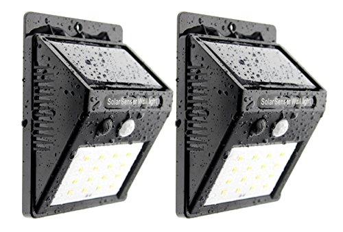 Trango 2 stuks 16 LED zonnelampen TGSOL-YF16 wandlamp veiligheidsverlichting incl. bewegingsmelder en helderheidssensor zorgen voor automatisch aan/uit-mechanisme