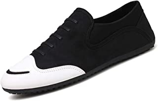 XUJW-Shoes, Canvas Shoes for Men Round Toe Lace Up Low Top Synthetic Leather Suitable for Daily Walking Spring and Autunm Handiness Durable Comfortable (Color : Black, Size : 6.5 UK)