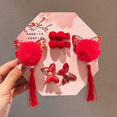 Estilo retro princesa niños regalo pelo conejo bola clip chica pelo accesorios 10 unids/lote
