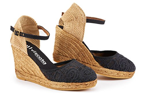 Viscata Satuna Ankle-Strap, Closed Toe, Classic Espadrilles with 3-Inch Heel Made in Spain