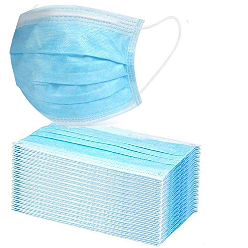 50PCS Disposable 3-Ply with Earloops Protective for Dust,Pollen,Blue