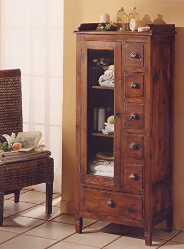 MaisonOutlet Mobile Vanity In Teak Massello, Stile Etnico Coloniale Moderno Realizzato Artigianalmente In Legno Di Teak - SCONTO OUTLET
