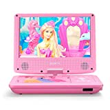 ZESTYI 11' Portable DVD Player for Kids with 9' Swivel Screen, Car Headrest Mount Holder, Rechargeable Battery, Wall Charger, Car Charger, SD Card Slot, USB Port (Pink)
